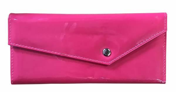 Damen-Geldbörse groß viele Fächer Lack-Leder Portemonnaie Pink