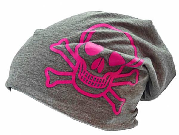 Beanie Cap Long Beanie Mütze grau mitTotenkopf pink Stoffmuetze Skull Urban Beanie Killer Chill Wear Summer (grau) 3727