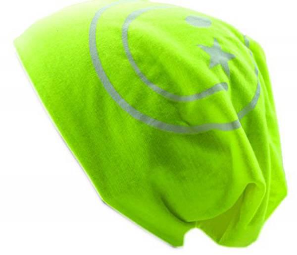 Muetze-Herren Damen-Beanie-Cap neon-gelb viele Stoff-Mützen mit Motiv Smiley Long Beanie Urban Beanie Chill Wear Summer (neon yellow) 1775
