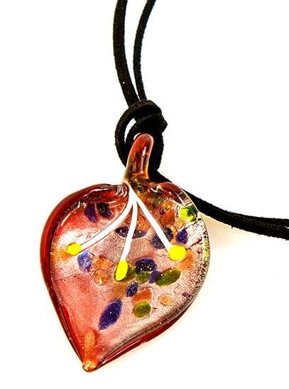 Damen-Halskette Glas-Anhänger Herz-rot