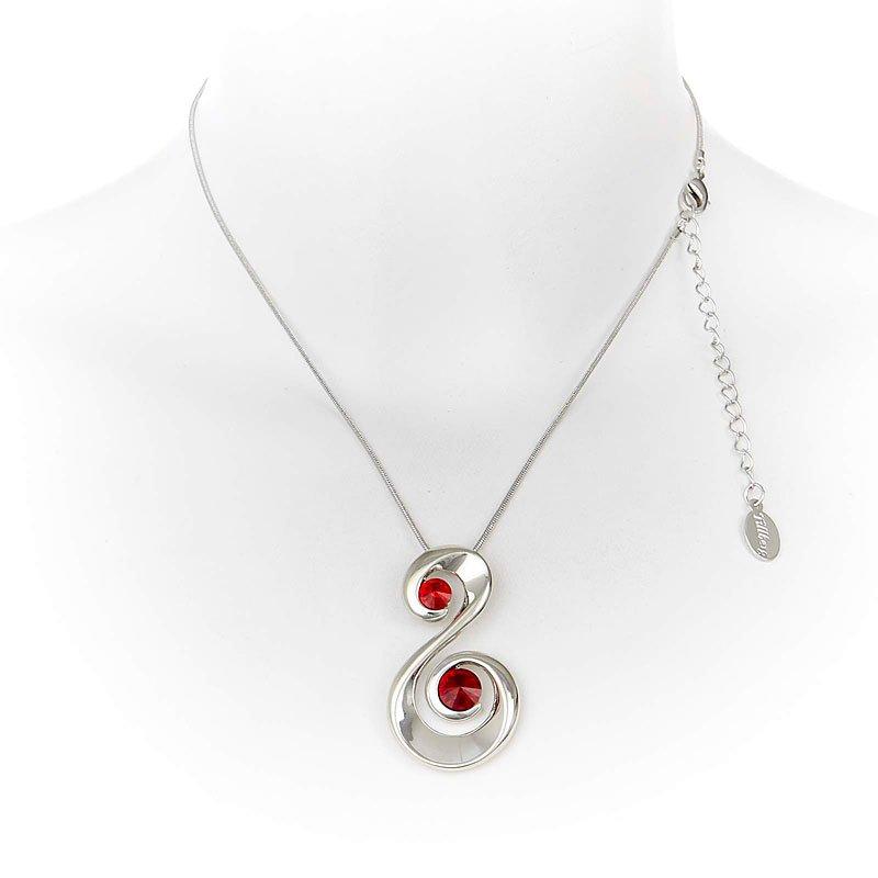 damen halskette silber collier mit swarovski steinen schwanen schmuck rot. Black Bedroom Furniture Sets. Home Design Ideas