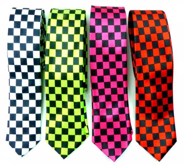 Anzug-Krawatten schwarz Kariert Herren Damen Rallye-Krawatte Finale-Muster Karo-Stil schwarz alle Größen Men Woman Cravat  Neck-tie black 5154