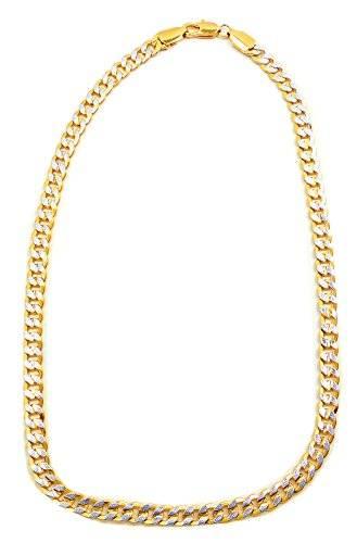 Halskette Herren Kette Bicolor Flachpanzerkette Business Silber-Goldkette für Herren und Damen 5mm BS1-8-8x