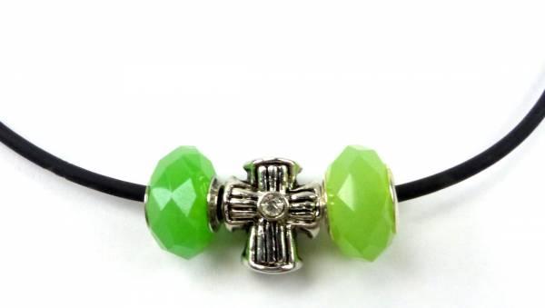 Beadskette Charms-Halsketten Handmade silber Kreuz -grün3-1
