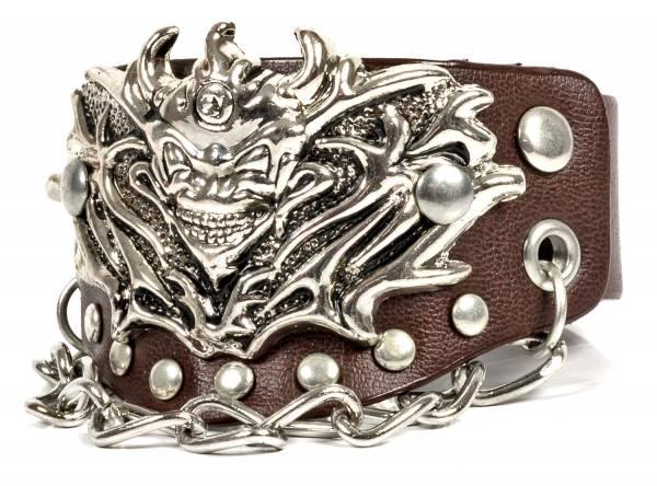 Premium Nieten-Armband Leder-Armband Biker Rocker Halloween Fasching Edelstahl Nieten Braun