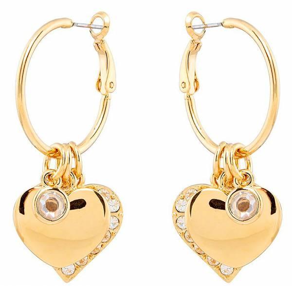 Damen-Ohrringe gold Damen-Schmuck Tillberg Creolen mit Kristallen besetzt Marken Ohrringe gelb-Gold