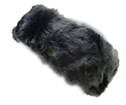 Winter Stirnbänder in TOP Qualität aus Baumwolle & Fell (SCHWARZ)