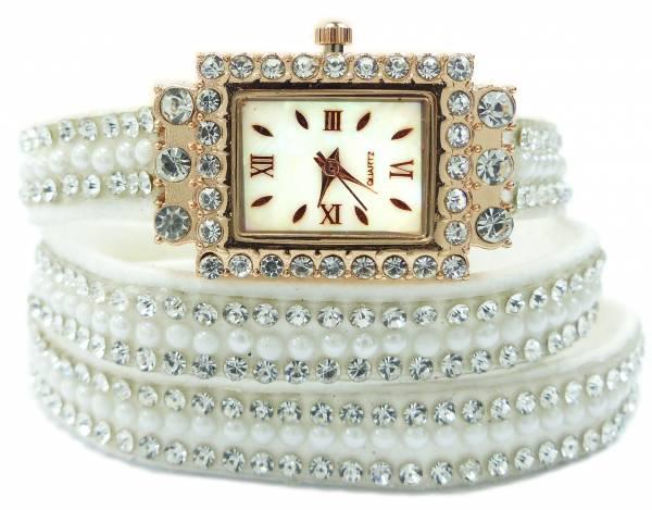 Uhr 4618 Damen Uhren Wickel Armband mit Strass Designer Watches Glamour wrap Bracelet Watch (white)