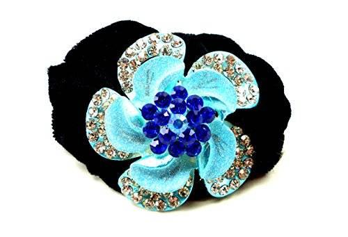 Haargummi 2392 Zopfgummi Blumen Haarspange für Kinder und Erwachsene Hairtie Strass viele Farben (blau)