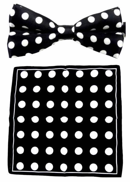Fasching-Set Nickituch Anzug-Fliege schwarz weiss in Geschenk Box