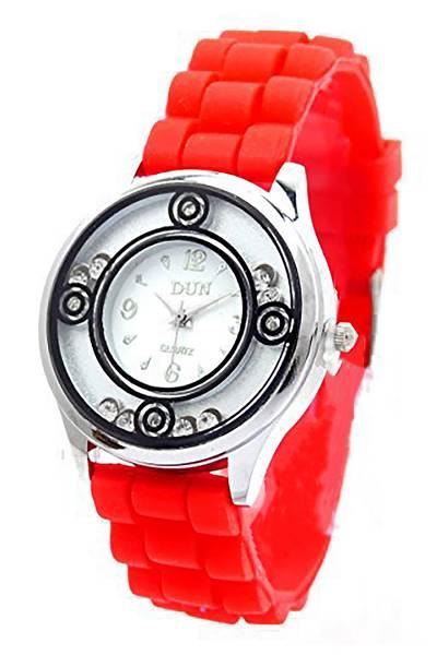 Damenuhr Armband-Uhren rot weiss mit Strass Designer Lady Watch Roman-Love