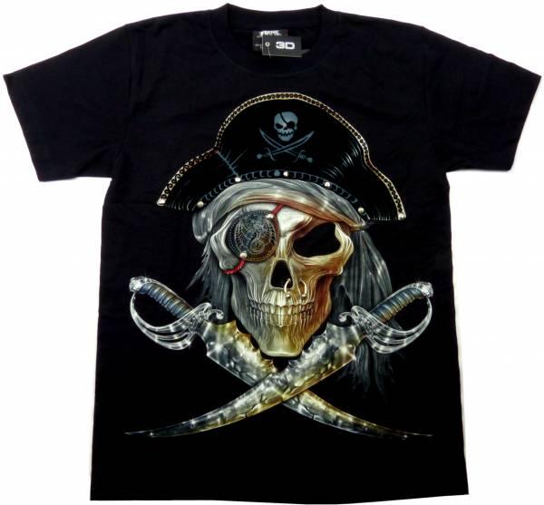 T-Shirts schwarz 3D Herren Damen Totenkopf Piraten Säbel Design Party Shirt schwarz Karneval Fasching 3D Hemd Glow in the Dark Halloween Theme Skull Pirat Sword Shirt leuchtet im dunkeln Größe: M 5235