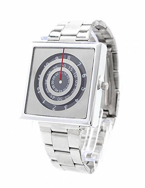 Designer-Uhr Metall-Armband Uhren silber Herren Damen Zeitmesser Rotolog Time DG Trendit Silver Black U50-3