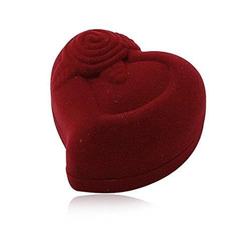 Geschenkbox Herz Ringbox 2234 Schmuckschachtel für Ringe und Schmuck überzogen mit Samt bordeaux rot, in Herzform mit Motiv Rose, Ring Box Schmuck-Etui Schmuck Schatulle