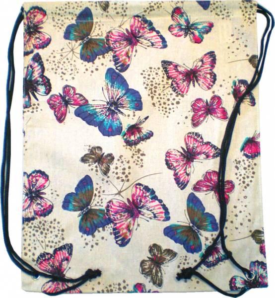 Beutel Rucksack Herren Damen Hipster Tasche beige  Turnbeutel Segeltuch Seemannsbeutel Stoffbeutel Kinder Gym Tasche - Butterfly 4728