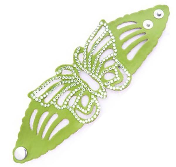 Damen-Armband grün Schmetterling Spalt-Leder mit Strassbesatz VIELE FARBEN (grün) 1961