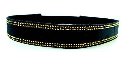 edle Damen Designer Haarbänder Halsbänder Haargummis aus Stoff mit Nieten besetzt viele Modelle (Gold Point)