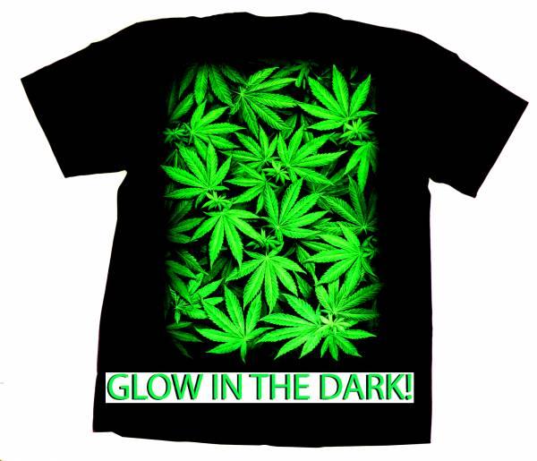 3D T-Shirt Cannabis GOLW IN THE DARK schwarz Hanf Motiv Größe:L