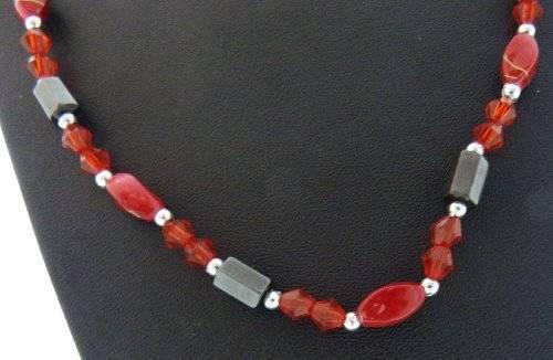 magnetische Halskette oder Aarmband viele Farben (rot-Stein)