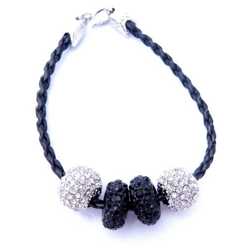 Damen-Armband schwarz mit Strass-Beads silber schwarz Ankerverschluss 3940