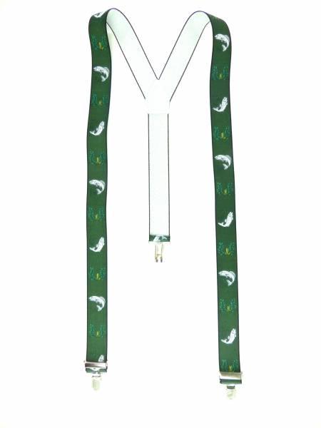 Hosenträger grün Forelle-Eichenlaub Motiv Fischer-Angler Suspenders green Design, mit 3 Clips, 3,5 cm