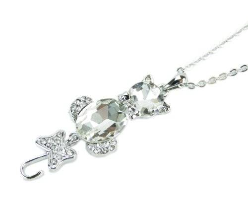 edle Damenhalskette Silber mit Edelstein White Cat Cristall