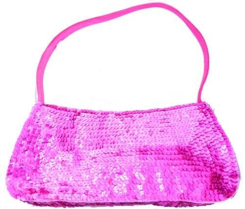Damen Handtasche Pailletten Handtasche 26cm (PINK)