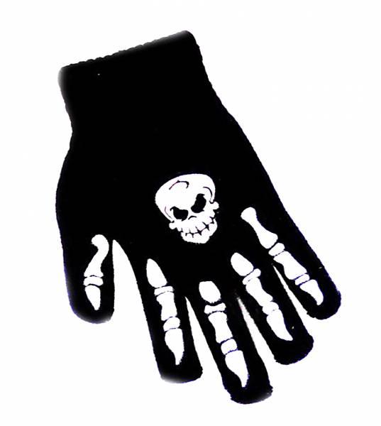 Handschuhe 2 Stk mit Skelettdruck und Totenkopf Einheitsgröße