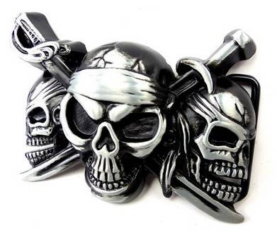 Gürtelschnalle Herren Damen Wechsel Guertelschallen grau schwarz Pirats Totenkopf Killer Koppel Gürtel Schnalle black metall Metal Killer Buckle 4716
