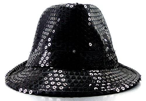 Hut 2645 viele LED Party Huete LED Fedora Pailletten Hut mit LED Lichtern Party Trilby LED Hat (schwarz)