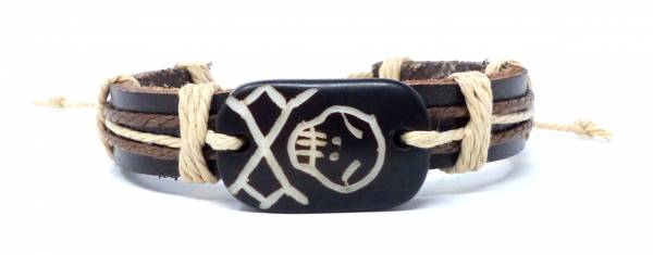 Armband Herren Damen Leder-Armbänder Handmade - black-Skull