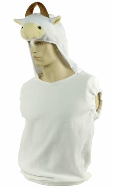 Schaf Kostüm Halloween Sheep Suit Herren Damen Verkleidung Karneval Fasching Maske mit Pullunder Weiss 4680