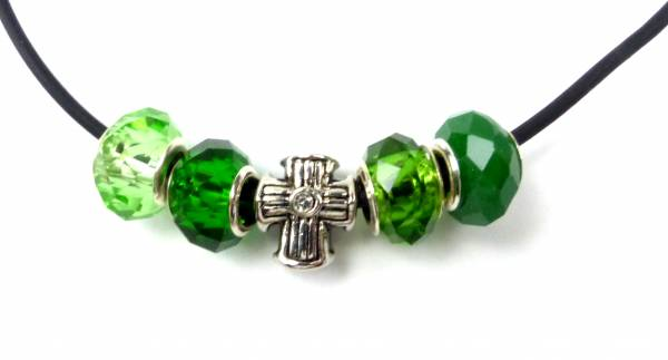 Beadskette Charms-Halsketten Handmade 5er silber Kreuz -GRÜN5-