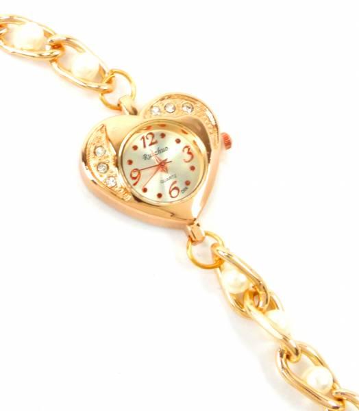 Damen-Uhren gold Wickel-Armband-Uhr weisse Perlen-Armband gold elegant moderne Damen Uhr Wickel-Armbanduhr 5255