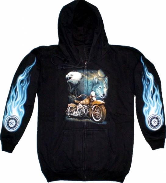 Sweatshirt-Herren Damen-Pullover Kaputzen-Jacke M-XL black Sherpa Motiv Drache blau Hoodie Sweatshirt Kaputzen Pulli DRAGON