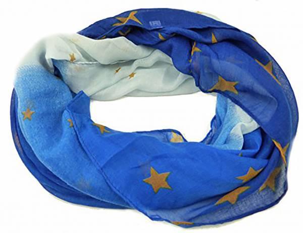 Damen-Schals Herren-Schal blau mit Stern-Motiv gold Loop-Scarfs Sommer-Winter Rundschal (Stern blau)