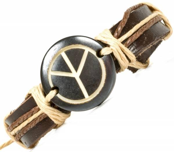 Herren Leder Armreifen Schmuck Armband Vintage Einstellbar Surf Armkettchen Motiv Hyppie Love Peace