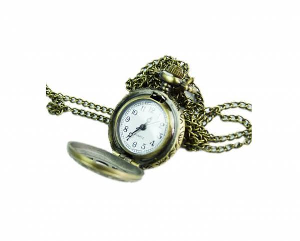 Damen-Uhren Bronze edle Kettenuhr Umhängeuhr mit Verzierung bronce offen