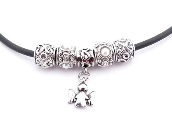 Halskette Damen-Kette Beadkette edles Design mit Engel Silber schwarz 1783