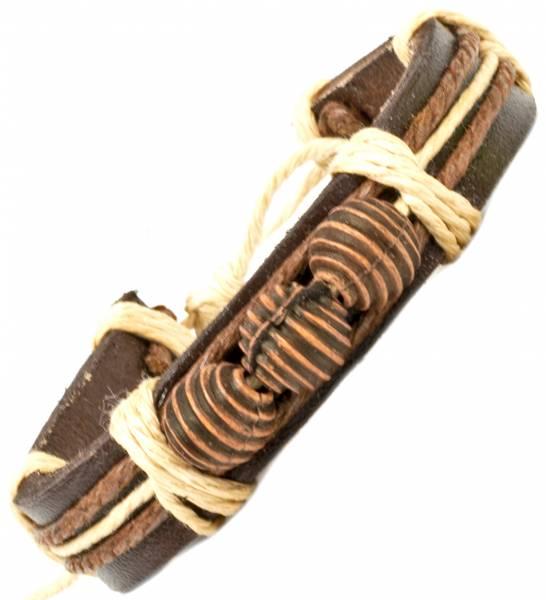 Herren Leder Armreifen Schmuck Armband Vintage Einstellbar Surf Armkettchen Motiv Holz Kugeln