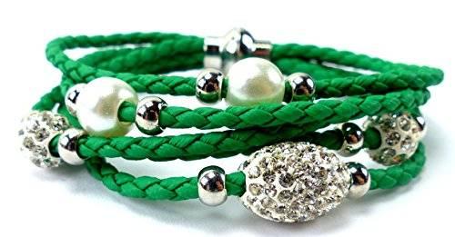 edle Damen Armbänder in tollen Farben mit Strasskugeln und Perlen viele Modelle U10-2 (grün)