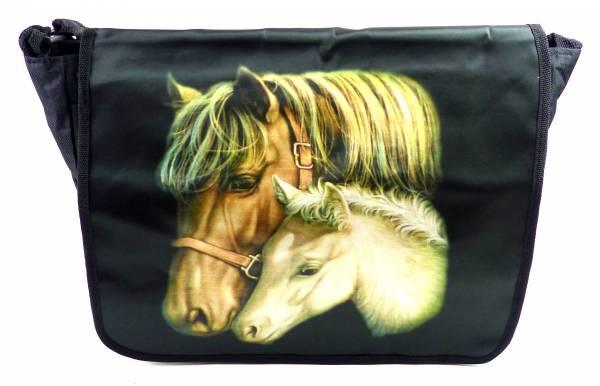 Tasche 4527 Handtasche Pferde Motiv Schul-Tragetasche Laptop Schulter Tasche Horse Sling Bag (BLACK)