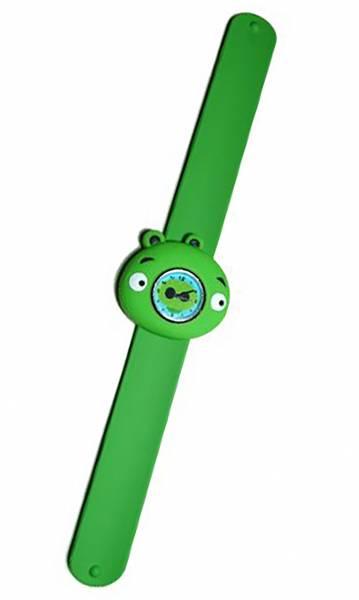 süße Kinderuhr mit Slaparmband aus Silikon (Rino green) U26-6