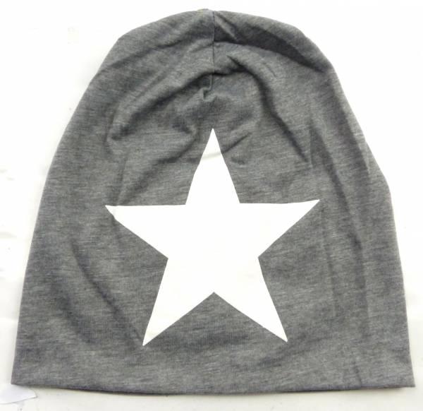 Beanie-Cap grau mit Stern-Motiv weiss Herren Damen Mütze long Beanie Caps Stoffmütze Beanie grau Star-Theme white Urban Beanie Killer Chill Wear Summer Schwarz 5332