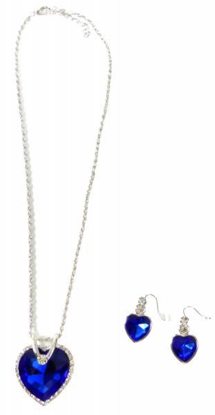 Titanik-Schmuck-Set blau Collier mit Ohrringen Herz-Anhänger des Ozeans blue edle Damen Halsketten Titanic-Jewelry Set Ozean Heart Blue 5155