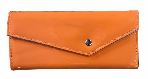 Damen-Geldbörse groß viele Fächer Lack-Leder Portemonnaie gelb