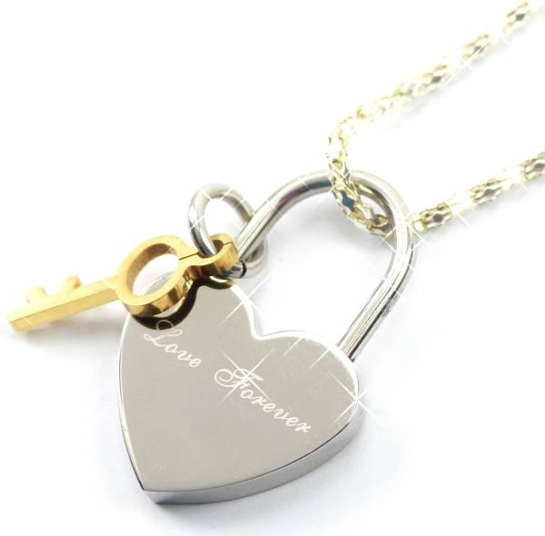 Ketten 4616 Paerchen Kette Silber Ketten LOVE forever silver gold key W2m