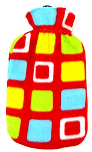 tolle bunte Wärmflaschen in wohlig weichem Wollbezug viele Modelle (4 Eck rot)