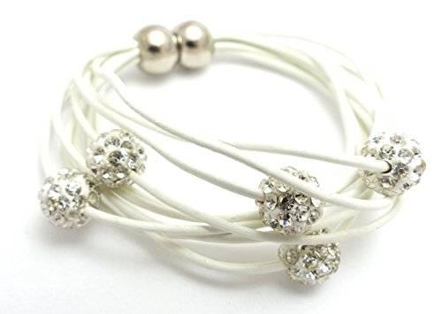 Damenarmband Beadskette Damen Beads Armband mit Strasskugeln und Magnetverschluss WEISS