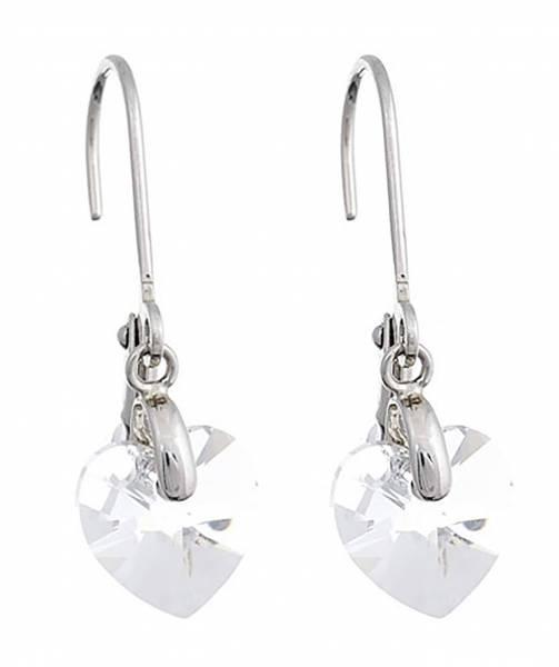 Tillberg Ohrringe Damen Ohrhänger mit Herz Swarovski-Stein Ohrring mit Clip Silber mit Swarovski Steinen Glamour Earrings der Oberklasse! 4789